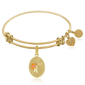 Expandable Bangle in Yellow Tone Brass with Easter Bunny Symbol