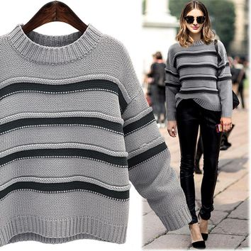 2017 large size ladies loose striped casual knit sweater [189417193498]