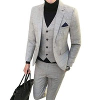 DCCKON3 2018 new Korean Slim business gentleman plaid suit three suit men's large size groom wedding suit
