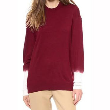3.1 Phillip Lim Red Long-Sleeved Pullover with Needle-Punch Sleeves