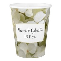 White Hydrangea Floral Wedding Paper Cup