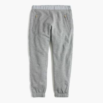 Girls' Extra-Cozy Sweatpant With Glitter Tux Stripe : Girls' Pants | J.Crew