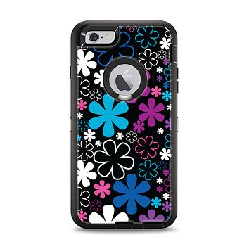 The Vibrant Pink & Blue Vector Floral Apple iPhone 6 Plus Otterbox Defender Case Skin Set