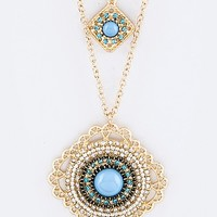 METAL FILIGREE CRYSTAL PENDANT LAYER NECKLACE