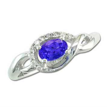Ben Garelick 14K White Gold Tanzanite and Diamond Ring