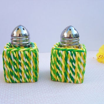 "Salt and Pepper Shakers, small 1"" square, polymer clay, green and yellow"