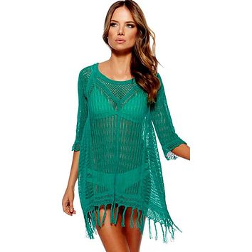 Beach Tunic Sexy Swimwear Knitted Hollow Cover Up Women Summer Beach Cover Up  Crochet Swimsuit Tops Women Beach Wear
