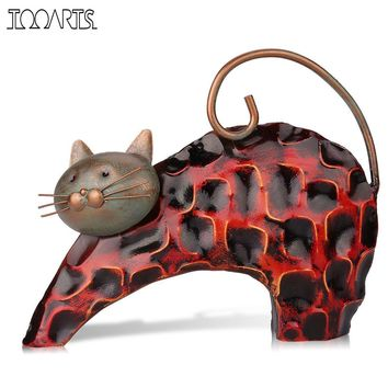 Lazy Cat Metal Figurine Art Iron Sculpture Animal