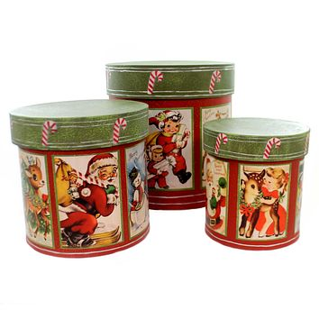 Christmas RETRO CHRISTMAS NESTING BOXES Paper Vintage Look` Tp5283