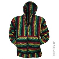 Zip Up Baja - Rasta Hoodie on Sale for $24.95 at HippieShop.com