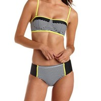 Black Combo Striped Bustier Bikini Top by Charlotte Russe