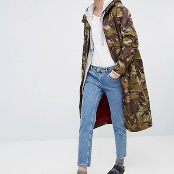 Ganni Greenwood Long Camo Raincoat at asos.com