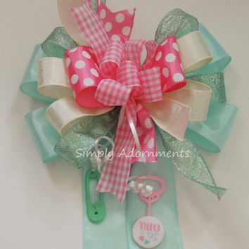 Funky Mint Pink Baby shower Bow Whimsical Gender Reveal Decor Bow Pink Green birthday Party decor Baby Shower Gift Bow Pink mint funky bow