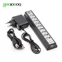 GOOJODOQ 10 Ports USB 2.0 Hubs with AC Power Computer Peripherals Supply Adapter For Portablefor PC Laptop Notebook