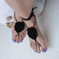 Black barefoot sandals -Crochet barefoot sandals Foot jewelry - Ladies Beach Wedding accessory -Boho chic shoes -Lacing sandals -Bohemian