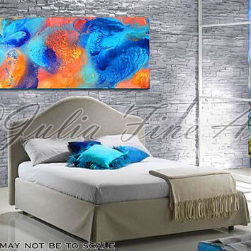 Diptych Painting, Abstract Print, Ocean, Blue, Turquoise, Orange, Gold, Cooper, Modern Colorful Wall Decor, Julia Apostolova
