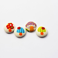 Mushrooms and Ladybugs - Spring - Summer - Magnets - Pins - Sewing Buttons - Thumbtacks - School Supplies - Red - Yellow - Green - Purple
