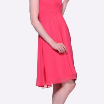 Short Bridesmaid Coral Dress Knee Length Pleated Bodice