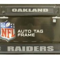Oakland Raiders Chrome Black License Plate Frame