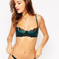 ASOS Leanna Lace Up Satin Half Cup Moulded Underwire Bra