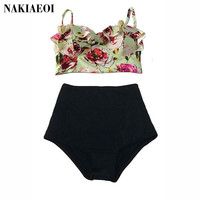 High Waist Swimsuit Bikini Women 2016 Push Up Swimwear Female Sexy Bikini Set Beach Wear Vintage Bathing Suit Retro Floral Print
