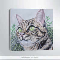 Custom portrait Personalized gift Memorial pet art  Cat Portrait  Pet Portrait Nursery wall art Cats art From photo Pet art Dog painting 6x6