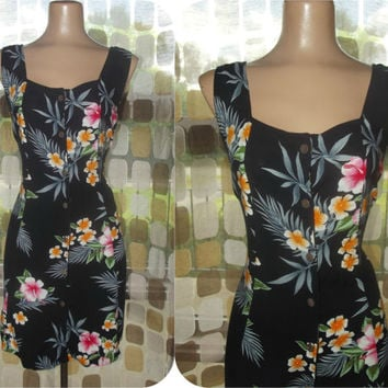 Vintage 90s Tropical Floral Hawaiian Mini Sun Dress Corset Lace Up Back Sz 8 M/L