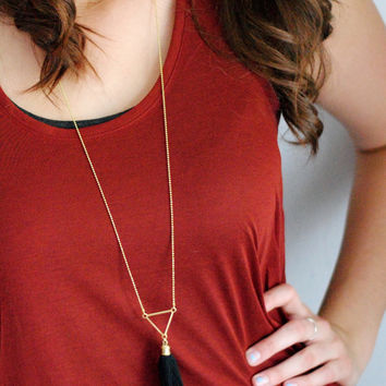 Geometric Tassel Necklace // Black and Gold Long Boho Tassel Necklace, Boho Style Gold Layering Necklace T010 by Indigo Lunch
