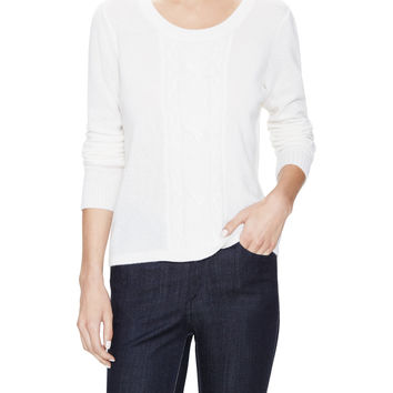 Qi Cashmere Women's Cashmere Cable Crewneck Sweater - White -
