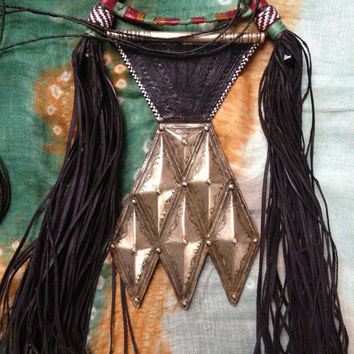 HUGE Tuareg Amulet 'Khomeissa' on Leather