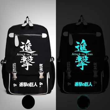 Cool Attack on Titan Anime  Scout Legion Train Squad  Stationary Guard Backpack Messenger Luminous Bag School Travel Bags Anime Gift AT_90_11