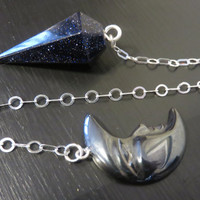 Blue Goldstone pendulum on a Sterling chain Hematite moon pendant