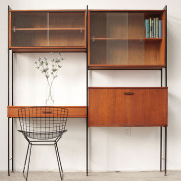 Mid Century Teak Wall Unit Avalon UK Free Standing