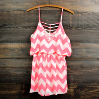 FINAL SALE - chevron romper | neon coral