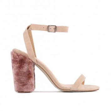 JAYDE BARELY THERE FAUX FUR BLOCK HEELS IN BLUSH PINK