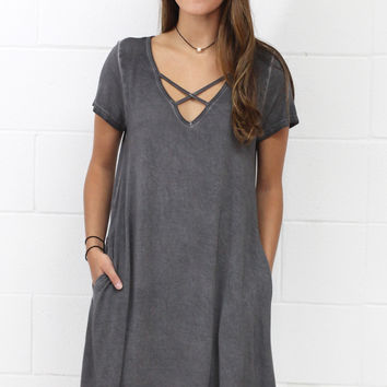 Mineral Wash V-neck Strappy Pocket Dress {Grey} EXTENDED SIZES
