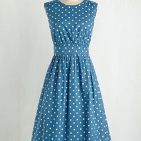 50s Long Sleeveless Fit & Flare Too Much Fun Dress in Blue Dots - Long
