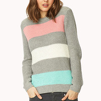FOREVER 21 On-The-Go Colorblocked Sweater Grey/Pink