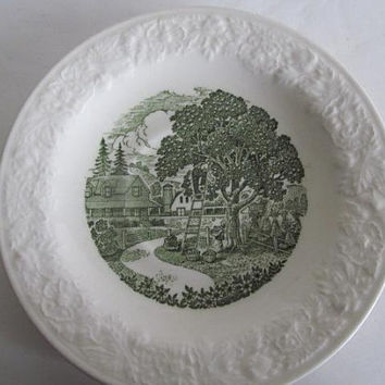 1940s Apple Picking Country Farmhouse Kitchen Taylor Smith & Taylor Pastoral Plate Green Transfer Plates Green and white Plates Farmhouse