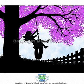 Girl Tree Swing Silhouette with Lilac tree - nursery or child room wall art print - 8x10 Personalized
