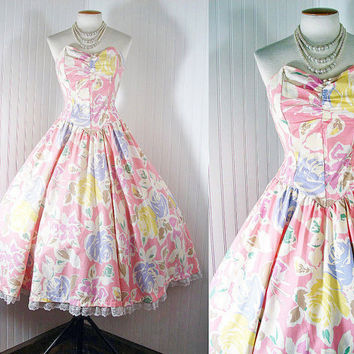 Vintage 1980s 1950s PERFECT DAY Strapless Princess by jumblelaya