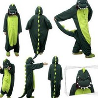 Cute Dinosaur One Piece Jumpsuit Unisex Sleepwear for Men Wo