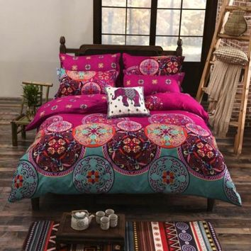 4pcs Ethnic Hippie Mandala Printed Bedding Sets Bedclothes Polyester Cotton Blend Duvet Cover Set with Pillowcases Drop Shipping