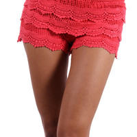 Lace Shorts - Coral