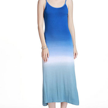 Blue Spaghetti Strap Bodycon Maxi  Dress