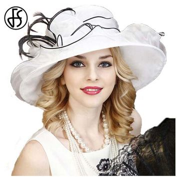 FS Summer Hat For Women Elegant White Gauze Wedding Dress Fedora Large Wide Brim Bowknot Kentucky Derby Hat Party Church Cap