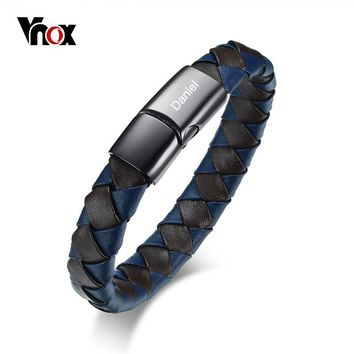 Vnox Free Personalized ID Bracelet for Men Bangle Braided Leather Stainless Steel Closure Male Identification Jewelry