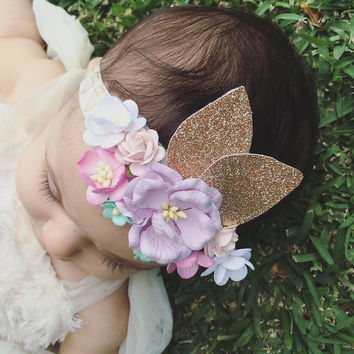 flower crown Baby girl headband gold headband lilac baby crown gold crown birthday headband floral headband floral crown photo prop