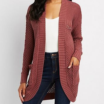 Mixed Knit Cocoon Cardigan