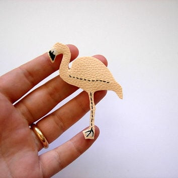 pink flamingo brooch, peach pink faux leather brooch, bird pin